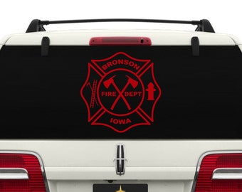 Maltese Cross Fire Department Logo w/YOUR CITY and STATE Car Window Decal ~ CARFD002