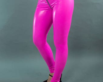 Custom 2 Way Crotch Zipper Leggings Pants in Spandex Vinyl alternative to latex