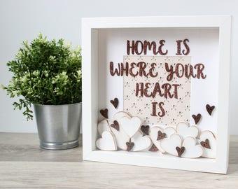 Christmas wall frame : Housewarming gift, Home sign frame, Personalized home sign, First home gift, New home wedding gift, Christmas gift
