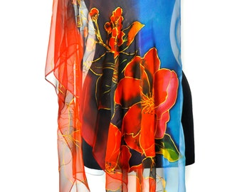 Handpainted Silk Chiffon Scarf/Red Flowers/Painting Silk Scarf/Luxury Gift for Woman/Long Chiffon scarf/Exotic Floral Scarf/Accessory/S0188