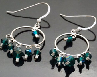 Emerald Green Swarovski Crystal and Sterling Silver Earrings