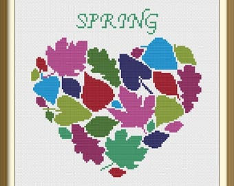 Spring Heart Leaves Modern Cross Stitch Pattern PDF Chart Colorful Design Instant Download