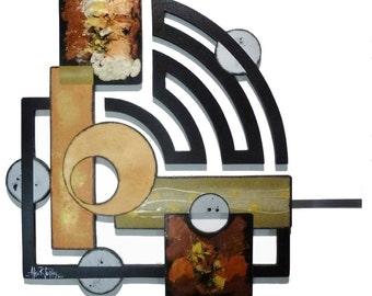 Stylish wall art -Contemporary wall decor- Modern Geometric Abstract Art Wood and metal Wall Sculpture 41x32 Custom Wall Decor by Alisa  DAS