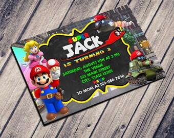 SUPER MARIO INVITATION - Birthday Invitation - Printable Invitation - Custom Card - Invitation template - Editable Invitation - Digital File