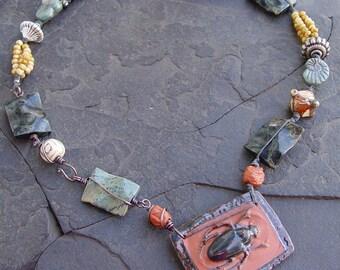 Sand Waves - Scarabs and Ammonites -  Double Sided Stoneware Pendant - Kambamba Jasper, Glass