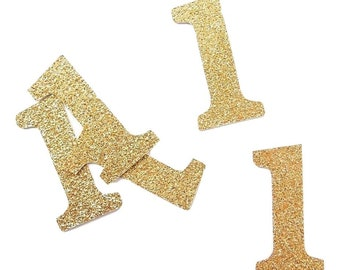 Confetti birthday - number to choose from-glitter and white decoration