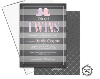 Twin girls baby shower invitations, twin baby shower invitation with bears, gray, pink, purple, printable or printed - WLP00769