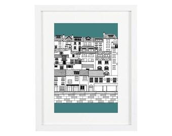 Brixham Print | Devon Print | Devon Illustration | Coastal Prints | Nautical Prints | Coastal Art | Bathroom Print | Architectural Print