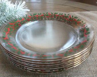 Arcoroc Transparent Christmas Plates Holly and Red Berries and Ribbon Trim FREE SHIPPING Set of 6 Vintage