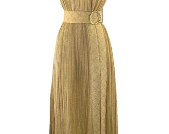 Groovy 1970s Gold Lame Party Dress & Hot Pants Ensemble - 70s Lame Dress Set (ON HOLD)