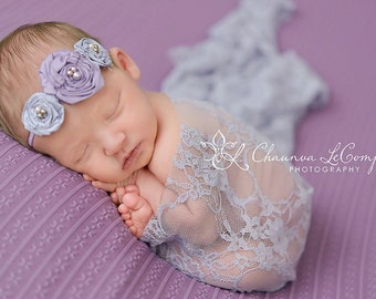 Lilac Stretch Lace Wrap Newborn Photography Prop Baby Swaddle