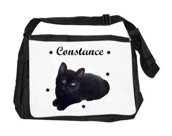 Personalized with name cat shoulder bag
