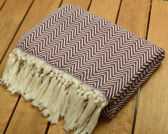 "SALE %50 Personalized Burgundy Herringbone Design Cotton Blanket - Peshtemal Throw - 52""X72"" -130cmx180cm-Monogrammed Embroidered"