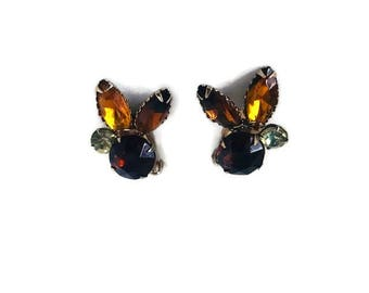 Beautiful Vintage Smokey Quartz Citrine Colored Gem Cluster Clip on Midcentury Earrings