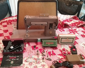 Singer Longbed 301a Sewing Machine with Case, Attachments, and  Accessories