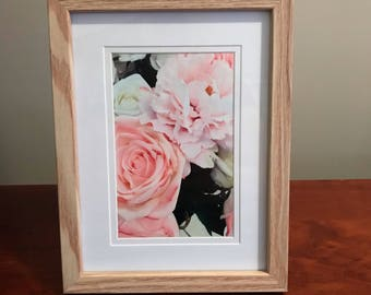Flower Print in wooden frame, print size 6x4inch, digitally crafted print, rose print,  cottage decor, home decorating, holiday home  decor,