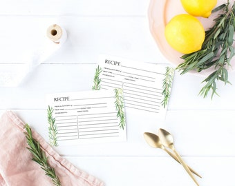 INSTANT DOWNLOAD Recipe Card - Watercolor Rosemary, Digital Download, Greenery Branches, Herb, Wedding Shower, Bridal Shower Game