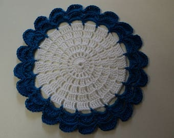Flower blue, crocheted doily, white and blue cotton