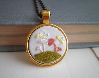 Embroidered Mushroom Necklace - Toadstool Diorama Embroidery - Wild Shrooms & Butterflies Woodland Nature Pendant - Fiber Art Jewelry Gift