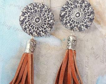 HIPPIE Jewelry, Hippie Earrings, Sterling Silver Hippie Earrings, HIPPIE CHIC Tassel Drop Earrings, Tassel Jewelry, Hippie Tassel Earrings