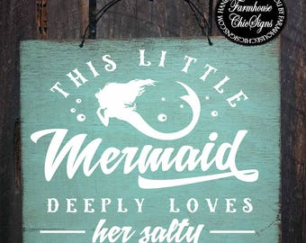 mermaid sign, mermaid decor, mermaid gift, mermaid decorations, mermaid gifts, mermaid wall art, mermaid salty pirate sign, 342