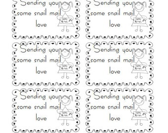 Sending you snail mail love, snail mail, happy mail, fun mail, stickers, envelopes, envelope art