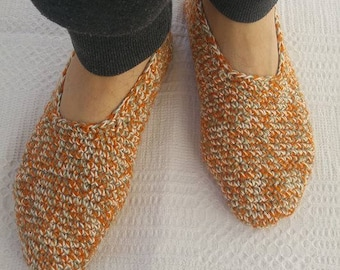 Crocheted men slippers wool cotton blend melange knit shoes home warm winter US 10-11  EU 43-44