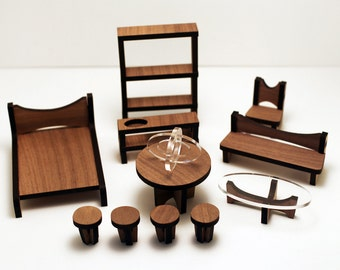 The ARC Dollhouse Furniture Set : Walnut + Clear Acrylic