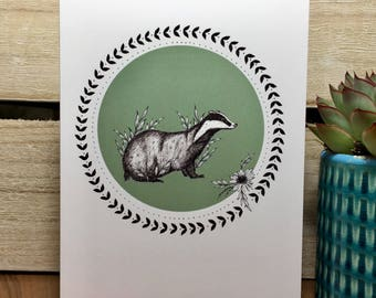 Badger illustration greeting card - nature - blank - A6 - wild - hand drawn