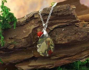 Foodie gift Resin necklace Spice necklace Red coral necklace Crystal drop necklace Cooking gift|for|cook Small drop choker Gift for chef