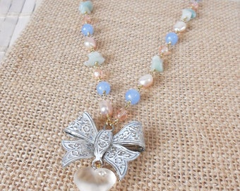 Heart & Bow Pendant Necklace, Shabby Chic style, Gemstone Beaded chain, Retro style, Pastel necklace, Valentine's Day, Best Friend gift Idea