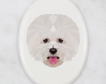 A ceramic tombstone plaque with a Bichon Frise dog. Art-Dog geometric dog