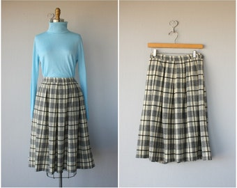 Vintage Plaid Wool Skirt | 1950s Wool Skirt | 50s Skirt | Plaid Skirt | Full Skirt | 1950s Skirt
