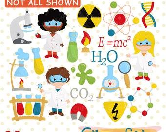 Scientist Kids clip art, Science Kids, Science Clip art, Scientist clipart, Chemistry art, DNA, microscope, mad lab art - Instant download