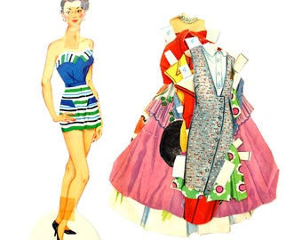 "Vintage Paper Doll ""Carole"" with Clothing, 10 pieces (c.1940s) - Doll Ephemera, Collectible Doll, Paper Projects"