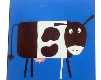 Farm Animal Cow Painting / Canvas / Children's Art / Nursery Decor