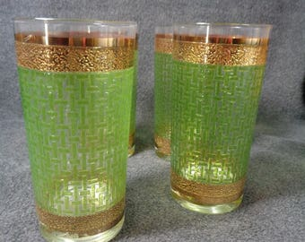 Vintage Culver Barware High Ball Glass, 22k Gold Accent & Green Basket Weave Pattern, Set of 4 Tumblers, Green Glassware, Mid Century Modern