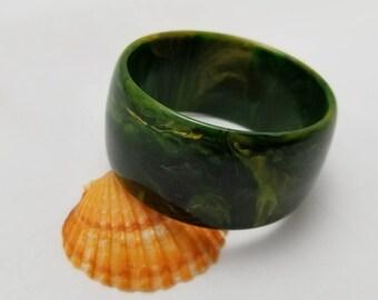Green And Yellow Swirl Bakelite Bangle