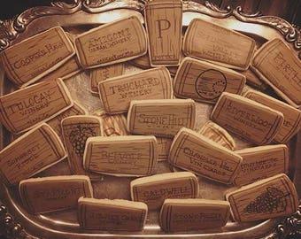 Wine Cork - Decorated Sugar Cookies - 1 dozen