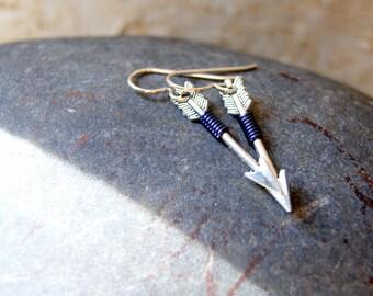 Arrow Earrings - Navy Blue Wire Wrapped Silver Arrows