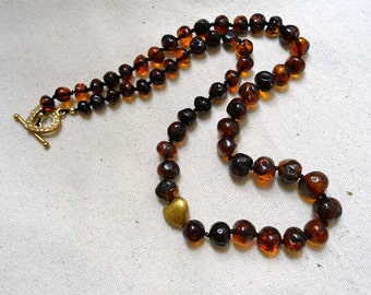 Cognac Amber and silk Necklace