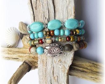 Boho turquoise bracelet stack