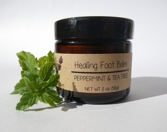 Healing Foot Balm 2oz All Natural Organic Gift Under 15 // Shea Butter, Peppermint & Tea Tree
