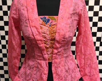 Vintage Pink Lace Top/ Jacket - Removeable Modesty Panel - Size 10-12
