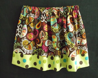Girls Paisley and Polka Dot Skirt