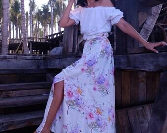 Pink Blossom Maxi Split Skirt - High Side Splits, Long Skirt, Vintage Maxi Skirt, Floral Print