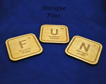 Personalised Periodic Table Element Coasters (Oxygen to Zirconium) (See other listing for Actinium to Neptunium)