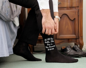 Father of the Bride Socks - Of All Our Walks this One is My Favorite Custom Printed Wedding Socks - Personalized With Wedding Date