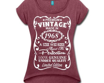 50th Birthday Shirts for Women - VELVETY PRINT - 50th Birthday Gift for Women - Unique Vintage Color V-neck T-Shirt - Made in 1968 Shirt