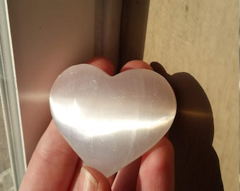ONE Selenite Heart, Large Pocket Stone, Puffy Hearts, Semiprecious Gemstones, Crystals